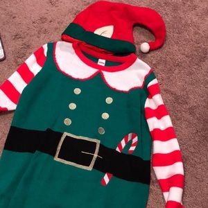 Fuzzy elf sweater with matching Christmas hat